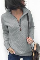 Light Gray Lattice Sweatshirt with Kangaroo Pocket