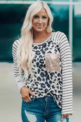 Sequin Pocket Black Leopard Panel Striped Sleeve Top