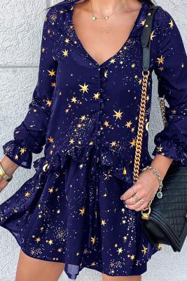 Blue Shimmer Ruffle V Neck Stars Print Long Sleeve Casual Short Dress
