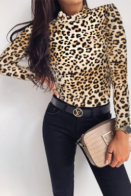 High Neck Leopard Long Sleeve Top