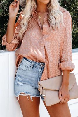 Orange Embossed Button Shirt