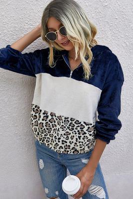 Colorblock Leopard Fluffy Sweatshirt with Hood