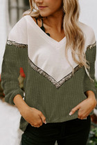 Green Splicing Colorblock V Neck Pullover Sweatshirts
