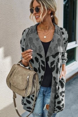 Grey Leopard Long Cardigan With Pockets