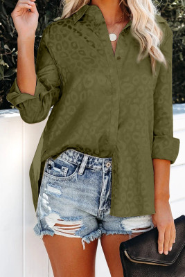 Green Embossed Button Shirt