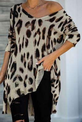 V Neck Leopard Knit Tunic Sweater with Slits