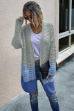 Blue Color Block Cardigan With Pockets