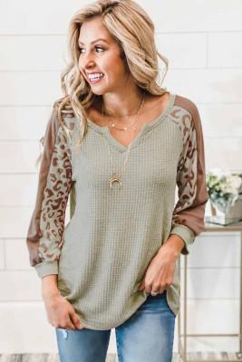 Mocha Leopard Print Waffle Knit 3/4 Sleeve Top