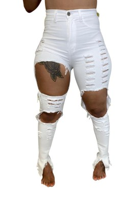 Solid Denim Ripped Split Plus Size Jeans