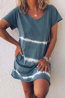 Blue Tie Dye Casual Mini Dress