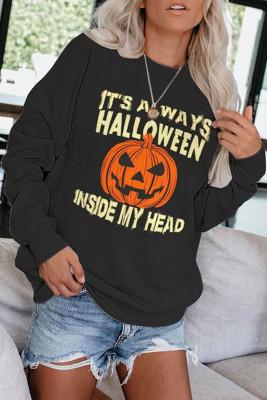 Crew Neck Pumpkin Print Halloween Sweatshirt