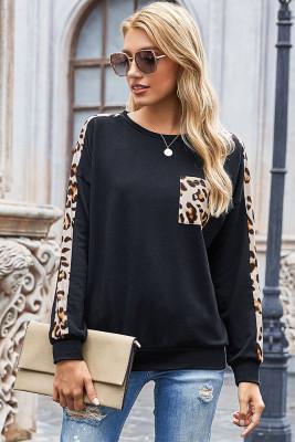 Black Leopard Print Sweatshirt