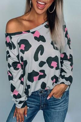 Gray Leopard Long Sleeve Top