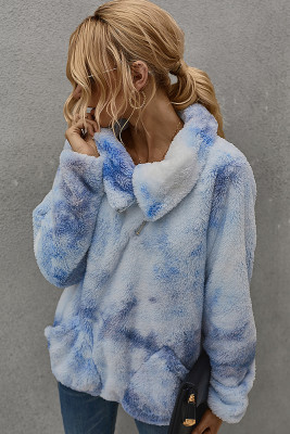Light Blue Tie Dye Sweatershirt with Pocket