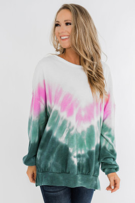 Green Ombre Tie Dye Pullover Top