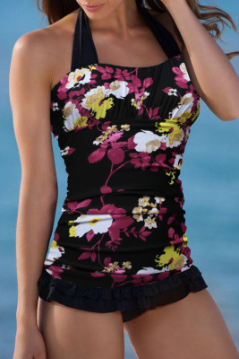 Black Open Back Ruched Halter Top Shorts Tankini Set