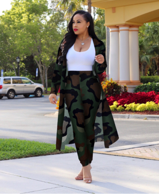 Camo Green Tie Dye Floral Print Sexy Two Piece Thin Cardigans
