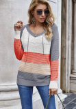 Colorblock Hollow Out Sweater with Hood