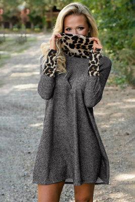 Charcoal Leopard Cowl Scarf and Cuff Cotton Mini Dress