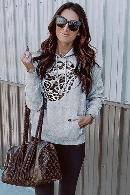 Women's Leopard Lips Print Pocket Front Gray Long Sleeve Hoodie