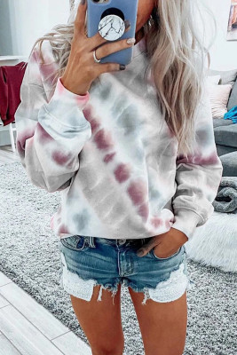 Gray Casual Tie-dye Round Neck Sweatshirt