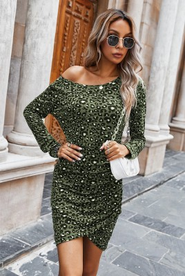 Leopard Fit Mini Dresses