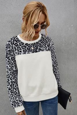 White Leopard Contrast Fleece Sweatshirt