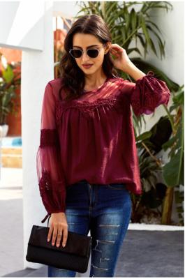 Copy White Fashion Lantern-Sleeve Lace Patchwork Top