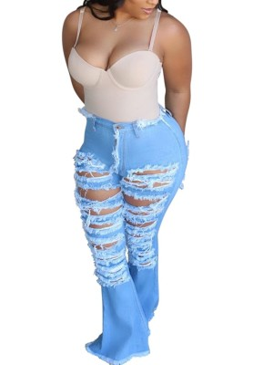 High Waist Ripped Flare Jeans