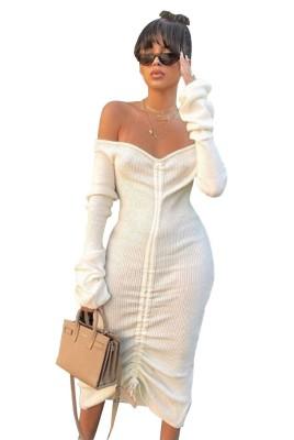 Off Shoulder Drawstring Dresses