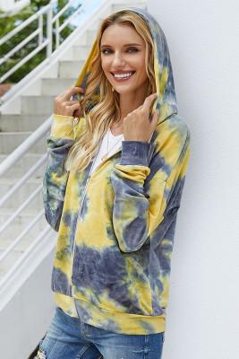 Yellow Tie-dye Hooded Sweatshirt