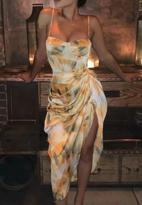 Floral High Split Ruffled Dresses