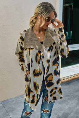 Apricot Leopard Long Cardigan With Pockets