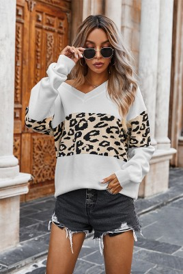 Leopard V Neck Sweaters