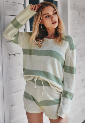 Striped Knitted Shorts Set