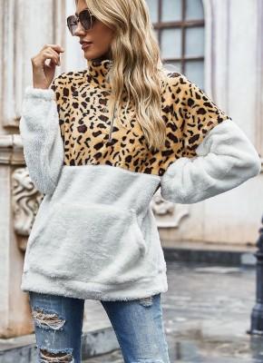 Leopard Turn-down Collar Sweatshirt with Pocket
