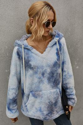Blue Tie-dye Hooded Coral Fleece Sweatshirt