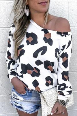 White Leopard Long Sleeve Top
