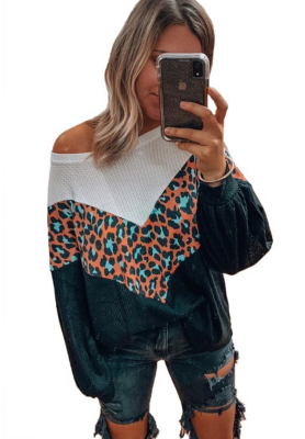 Leopard Waffle Knitted Top