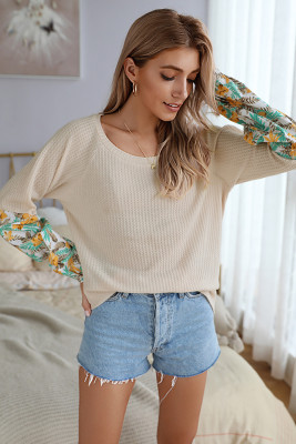 Apricot Tie Dye Patchwork Long Sleeve Top