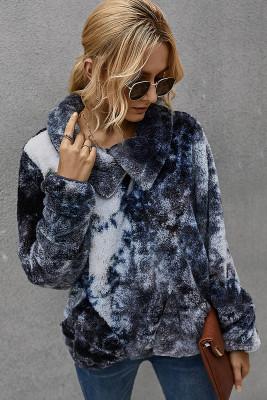 Dark Grey Tie Dye Sweatershirt with Pocket