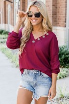 Solid V Neck Buttoned Top