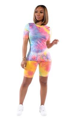 Tie Dye 2pcs Outfits Shorts Set