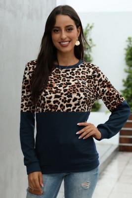 Navy Leopard Patchwork Sweatshirt