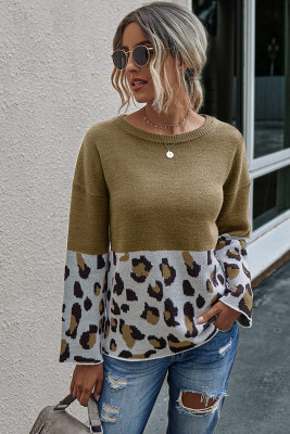 Kahki Leopard Patchwork Pullover Sweaters