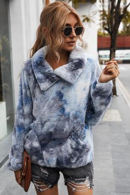 Dark Blue Tie Dye Sweatershirt with Pocket