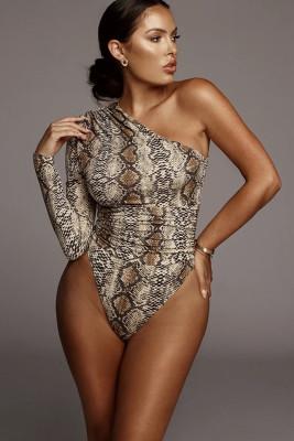 Snake Print One-shoulder Bodysuit