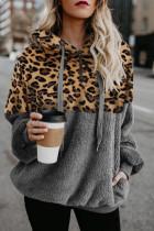 Gray Leopard Hooded Sweatshirt