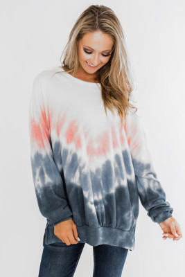 Blue Ombre Tie Dye Pullover Top