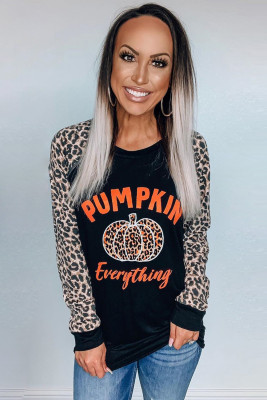 Leopard Pumpkin Print Long Sleeve Blouse